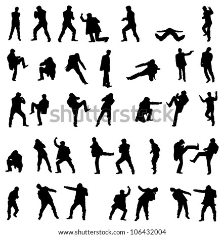 Silhouettes of the fighting businessmen - illustration set.