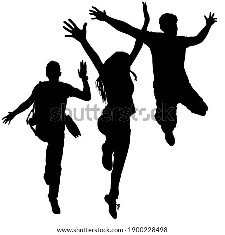 Silhouettes of three fun jumping young people, a group of girls and two guys. The concept of victory, glee, happiness, joy Stock fotó ©
