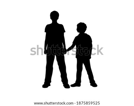 Silhouettes of two boys brothers friends. Illustration graphics icon Stok fotoğraf ©