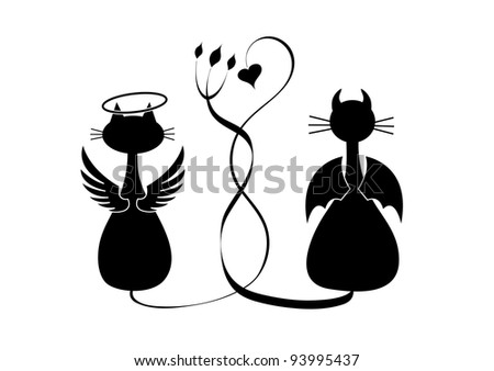 Silhouettes of two cats