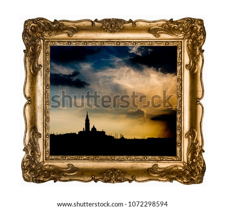 Silhouettes of Venice in vintage beautiful gold rectangular frame with an ornament isolated on white. Retro style.Vintage silver rectangular frame with an ornament isolated on white. R