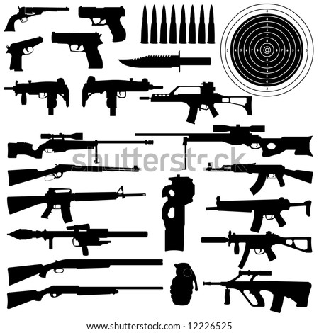 silhouettes of weapons, guns, aims, bullets, granate and Knifes in very High detail