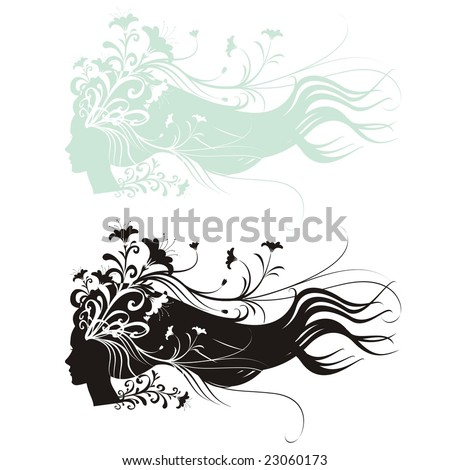 Silhouettes of woman head profile with flowering branches on her waving hair. Large format full resolution.