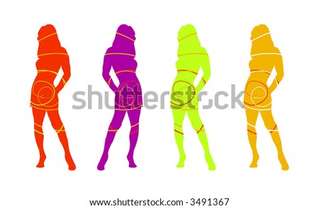 Silhouettes of woman in sexy fashion pose