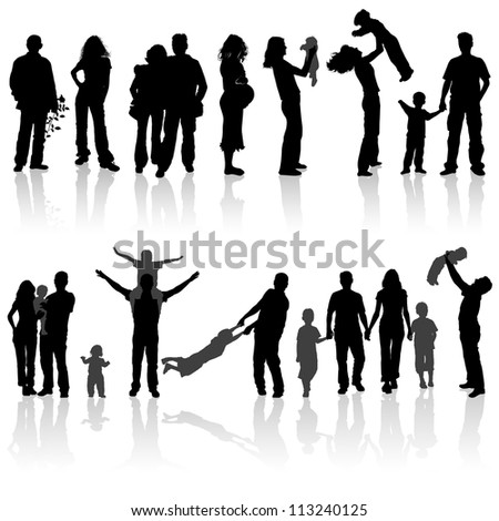Silhouettes of woman, man, children, family, illustration