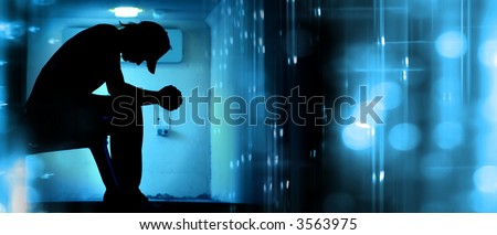 Silhoutte of desperate teenager praying on abstract background