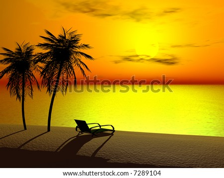 Silhoutte of two palms and a lounger at sunrise.