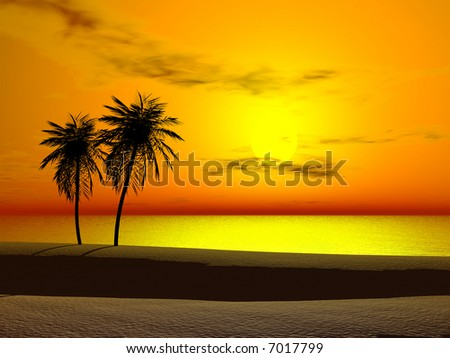 Silhoutte of two palms at sunrise