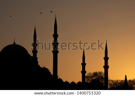 Silhouttes of Suleymaniye mosque in an ancient peninsula of Istanbul,Turkey. #1400751320