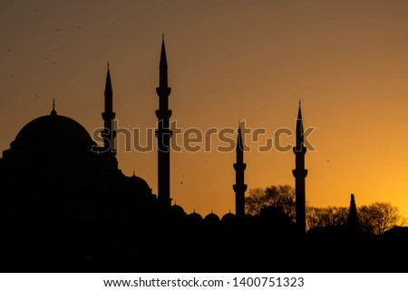 Silhouttes of Suleymaniye mosque in an ancient peninsula of Istanbul,Turkey. #1400751323