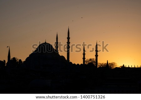 Silhouttes of Suleymaniye mosque in an ancient peninsula of Istanbul,Turkey. #1400751326