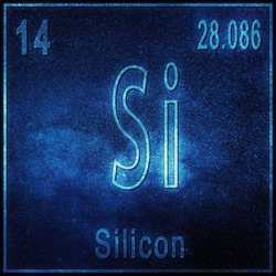 Silicon chemical element, Sign with atomic number and atomic weight, Periodic Table Element