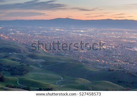 Shutterstock Silicon Valley and Green Hills at Dusk. Monument Peak, Ed R. Levin County Park, Milpitas, California, USA.