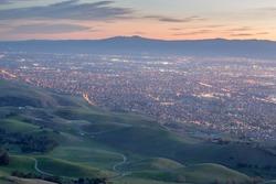 Silicon Valley and Green Hills at Dusk. Monument Peak, Ed R. Levin County Park, Santa Clara County, California, USA.