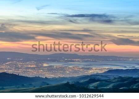 Shutterstock Silicon Valley Views from above. Santa Clara Valley at dusk as seen from Lick Observatory in Mount Hamilton east of San Jose, Santa Clara County, California, USA.