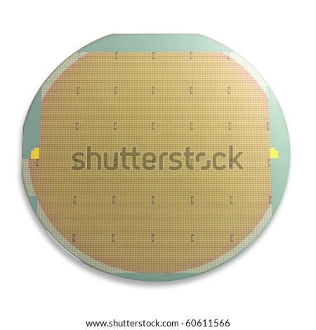 Silicon wafer isolated on white with movable shadow and clipping path