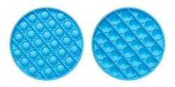 Silicone blue anti-stress sensory toy fidget push pop it isolated on white background