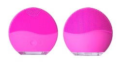 Silicone facial brush isolated on white background. Beauty gadget.