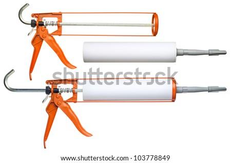 Silicone glue gun, isolated on white