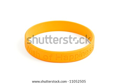 "silicone wristband, bracelet on the white background ""wish of happiness"" (isolated with clipping path)"