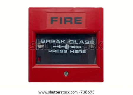 Silightly damaged fire alarm panel. White isolated