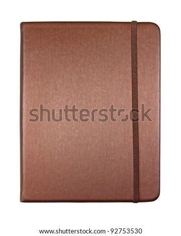 silk brown color cover note book isolated on white background