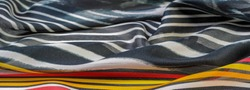 Silk fabric, black-red and white stripes, African theme, print on fabric, cheerful pattern will decorate the project. dichotomy of the theme of freedom, the reality of dreams. Texture pattern