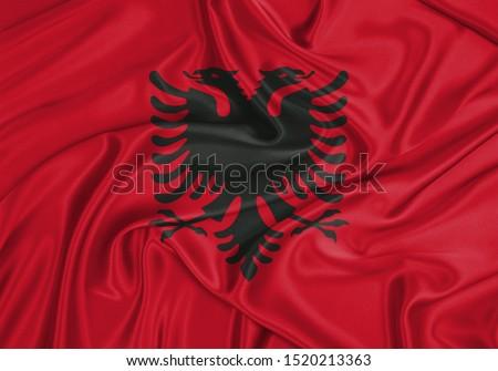 Silk Flag of Albania. Albania Flag of Silk Fabric.