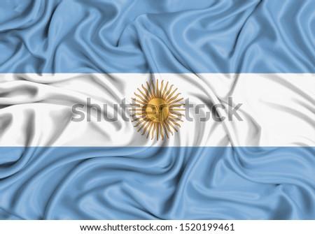 Silk Flag of Argentina. Argentina Flag of Silk Fabric. #1520199461