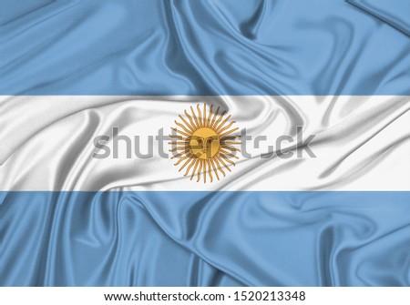 Silk Flag of Argentina. Argentina Flag of Silk Fabric. #1520213348