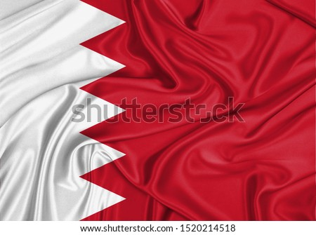 Silk Flag of Bahrain. Bahrain Flag of Silk Fabric.