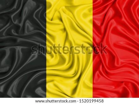 Silk Flag of Belgium. Belgium Flag of Silk Fabric. #1520199458