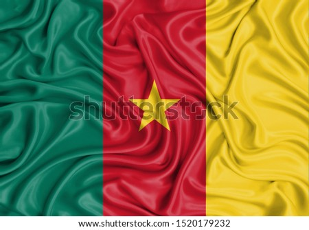 Silk Flag of Cameroon. Cameroon Flag of Silk Fabric. #1520179232
