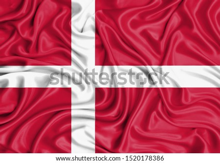 Silk Flag of Denmark. Denmark Flag of Silk Fabric. #1520178386