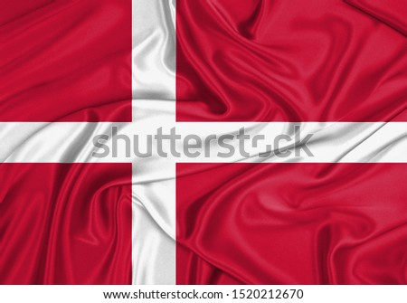 Silk Flag of Denmark. Denmark Flag of Silk Fabric. #1520212670