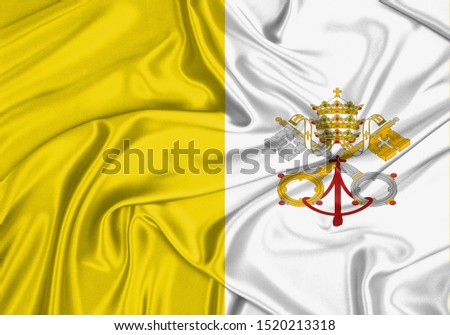 Silk Flag of Holy See. Holy See Flag of Silk Fabric.