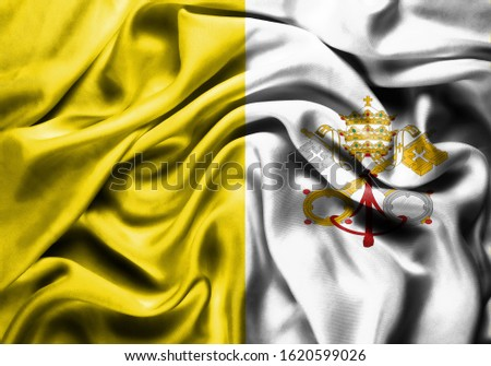 Silk Flag of Holy See . Holy See Flag of Silk Fabric