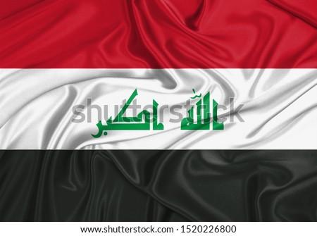 Silk Flag of Iraq. Iraq Flag of Silk Fabric.