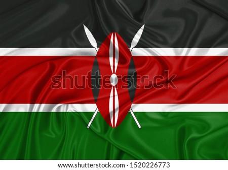 Silk Flag of Kenya. Kenya Flag of Silk Fabric.