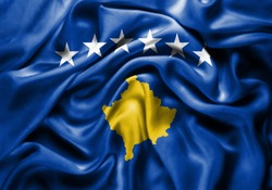 Silk Flag of Kosovo . Kosovo Flag of Silk Fabric