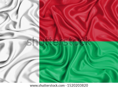 Silk Flag of Madagascar. Madagascar Flag of Silk Fabric.