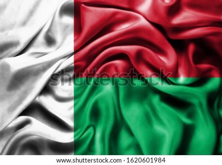 Silk Flag of Madagascar . Madagascar Flag of Silk Fabric