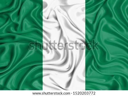 Silk Flag of Nigeria. Nigeria Flag of Silk Fabric. #1520203772