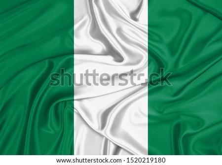 Silk Flag of Nigeria. Nigeria Flag of Silk Fabric. #1520219180