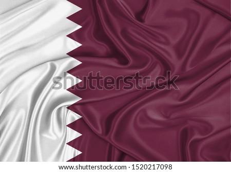 Silk Flag of Qatar. Qatar Flag of Silk Fabric.