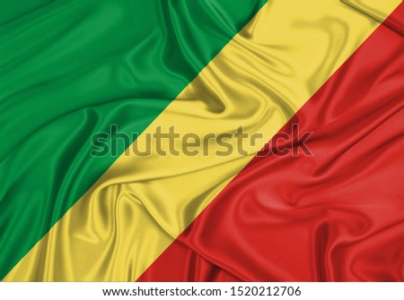 Silk Flag of Republic of the Congo. Republic of the Congo Flag of Silk Fabric. #1520212706