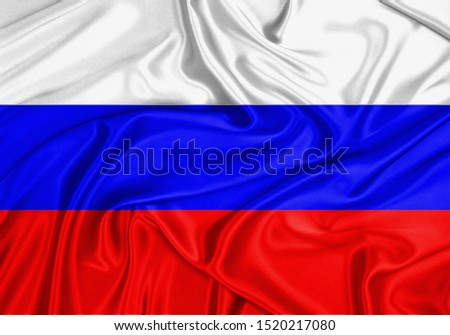 Silk Flag of Russia. Russia Flag of Silk Fabric. #1520217080