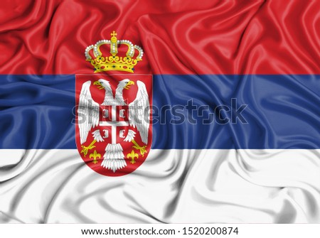 Silk Flag of Serbia. Serbia Flag of Silk Fabric. #1520200874