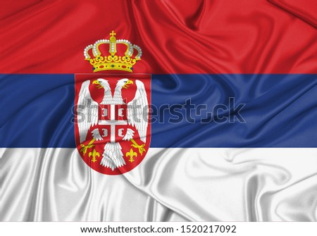 Silk Flag of Serbia. Serbia Flag of Silk Fabric. #1520217092