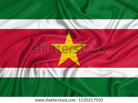 Silk Flag of Suriname. Suriname Flag of Silk Fabric. #1520217050